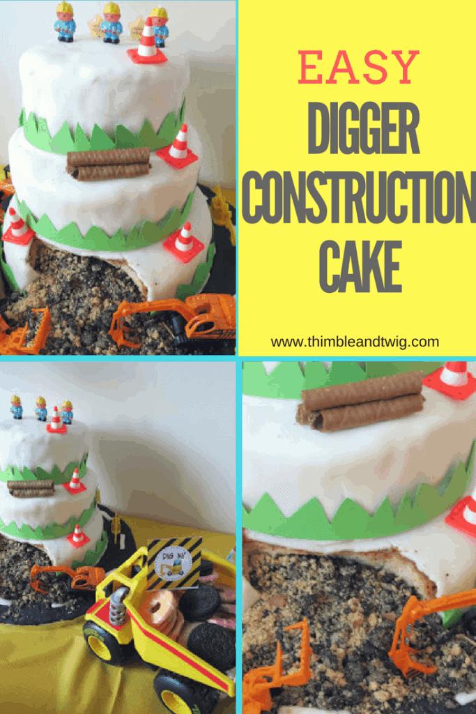 Easy Cake Idea for Boy's Birthdays. Easy Digger Construction Birthday Cake Ideas