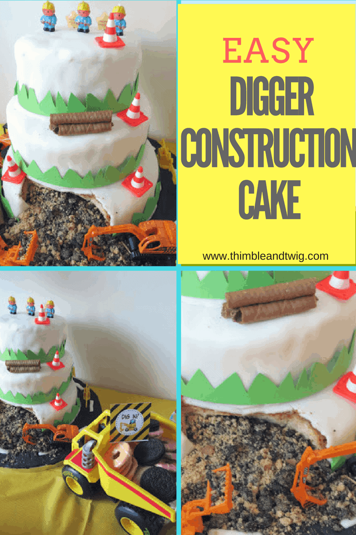 Digger Construction Cake For A Digger Party Thimble And Twig