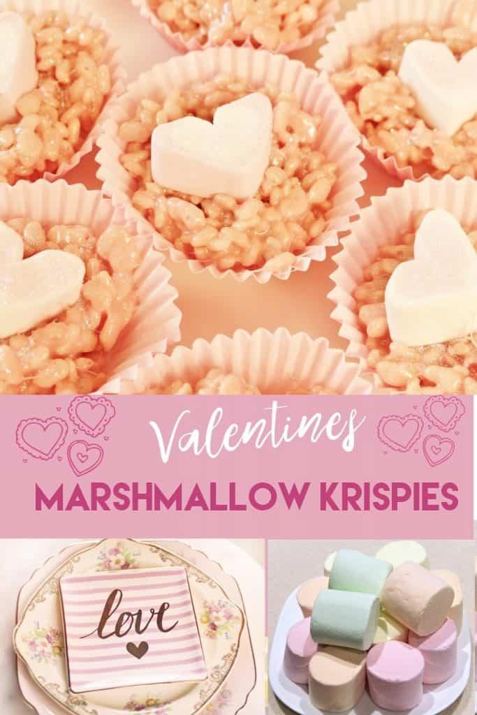 Valentines Marshallow Krispie cakes. Valentines Day Treats. Valentines Day Recipes.