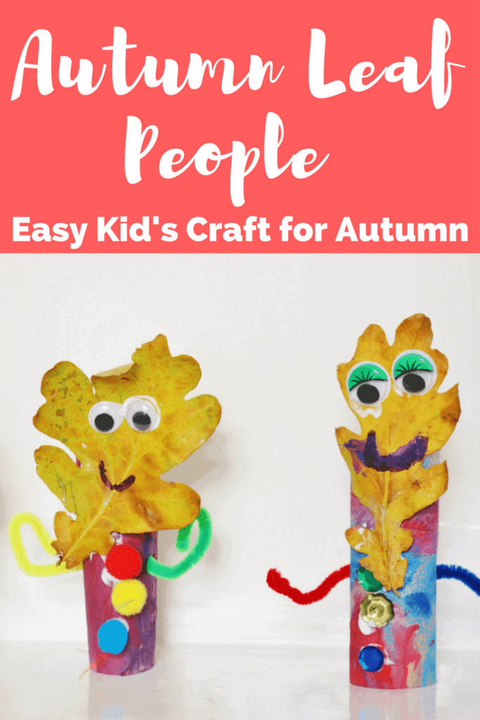 Kid's Craft for Autumn. Easy way to use up those Autumm leaves.