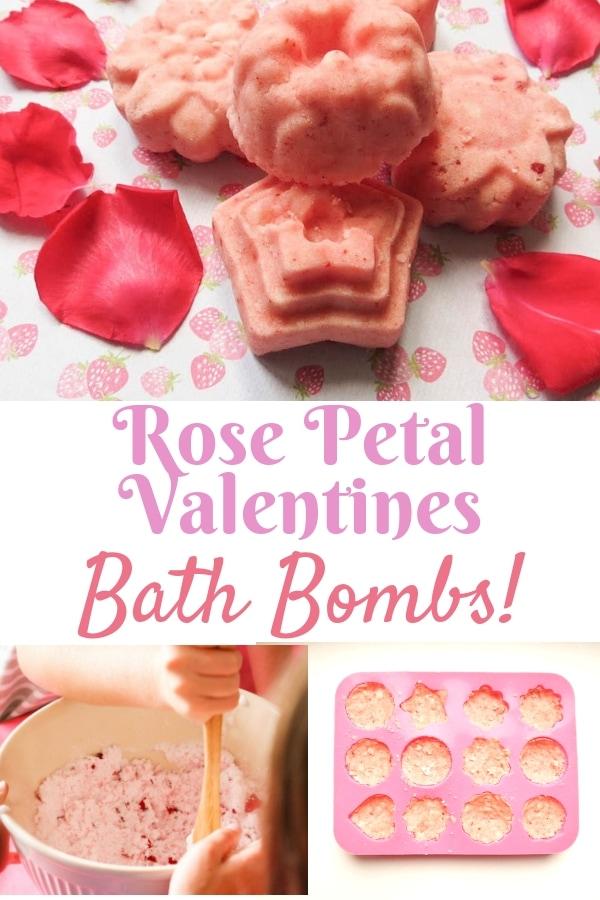 Rose Petal Valentines Bath Bombs