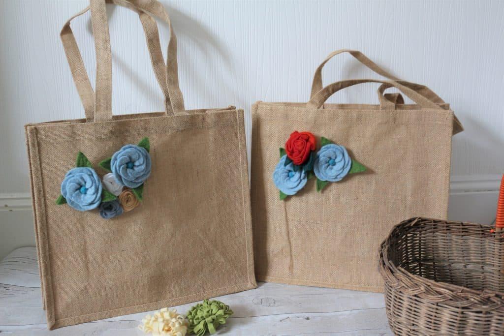 Felt Flower Hessian Bags