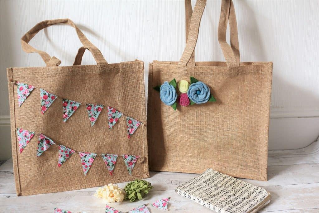 DIY Handmade felt flower decorated hessian bags