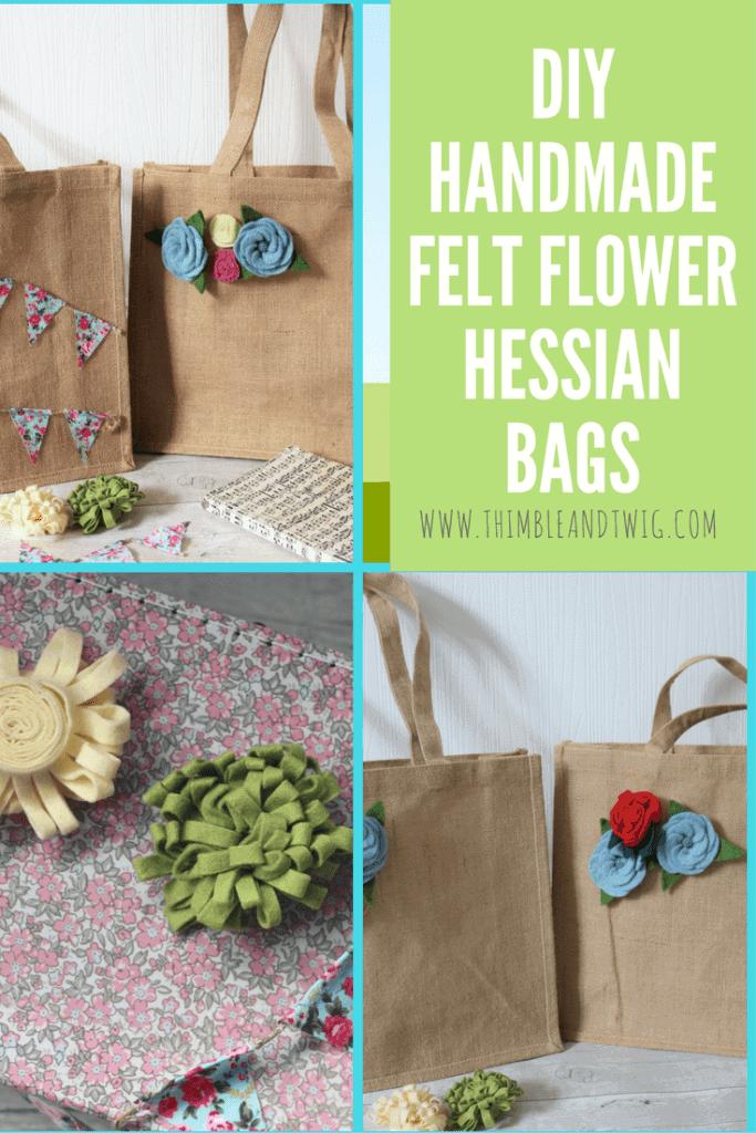 DIY Handmade Felt Flower Hessian Bag