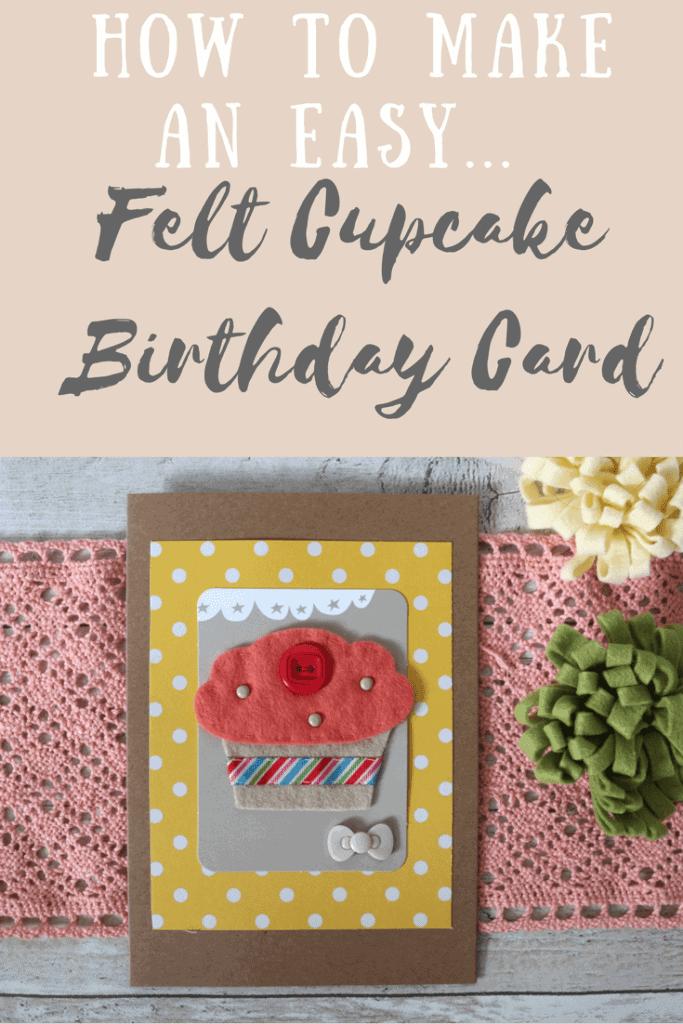 handmade felt cupcake birthday card design