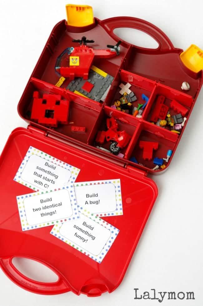 lego challenge cards for entertaining kids on long journeys