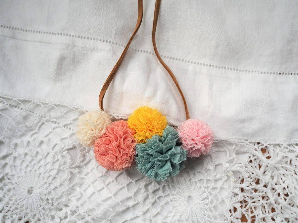 DIY Jewellery mini tulle pom pom necklace