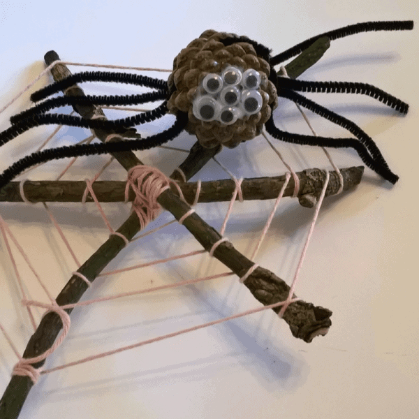 #littlemakes Craft Ideas for children using natural materials. Spider Craft