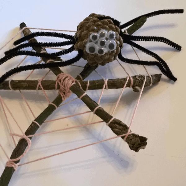 #littlemakes Craft Ideas for children using natural materials. Spider Craft