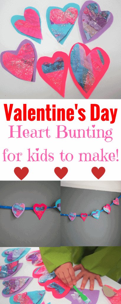 Valentine's Day Heart Bunting for children to make