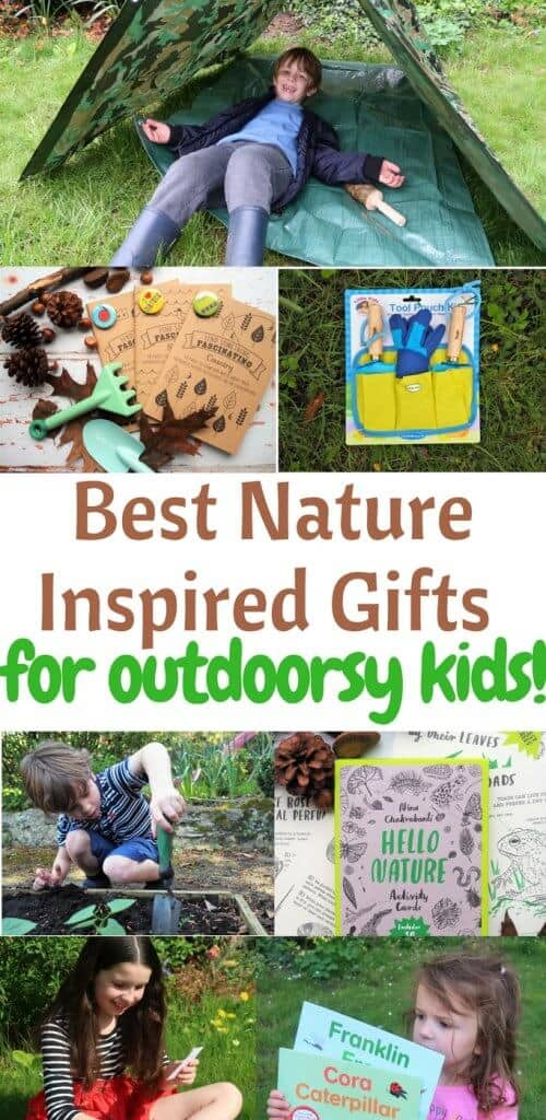 Nature Inspired Gifts for kids. Creative gifts to inspire kids to get outside! Great list of finds that will encourage kids to explore nature. Kids can use them on nature walks or their own backyard to observe animals, insects & plants