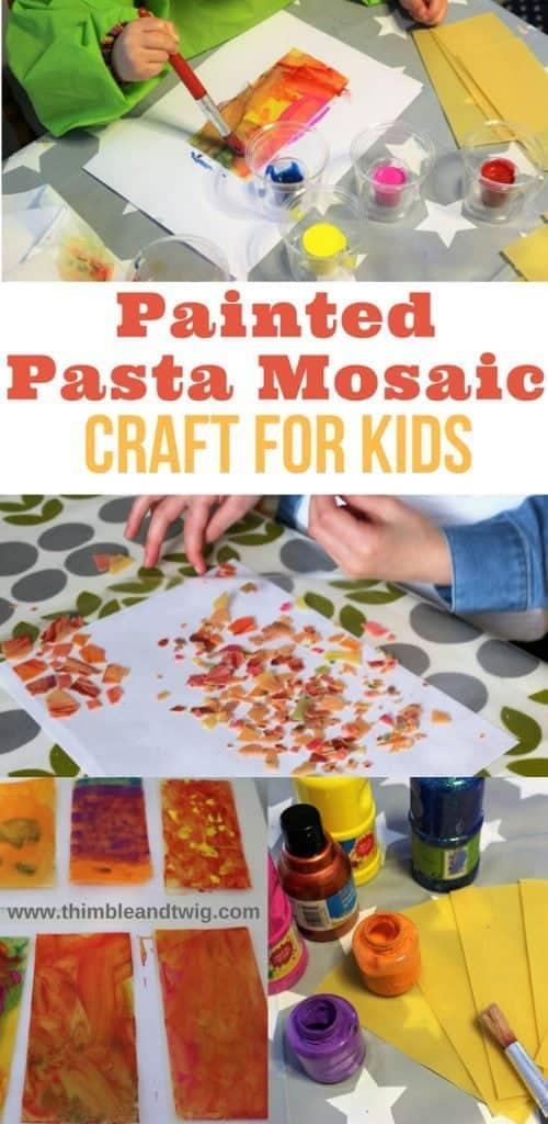 Painted Pasta Mosaic Kids Craft. Kids Activity. Fun process art for kids. Mosaic Craft for kids. Pasta Craft for kids