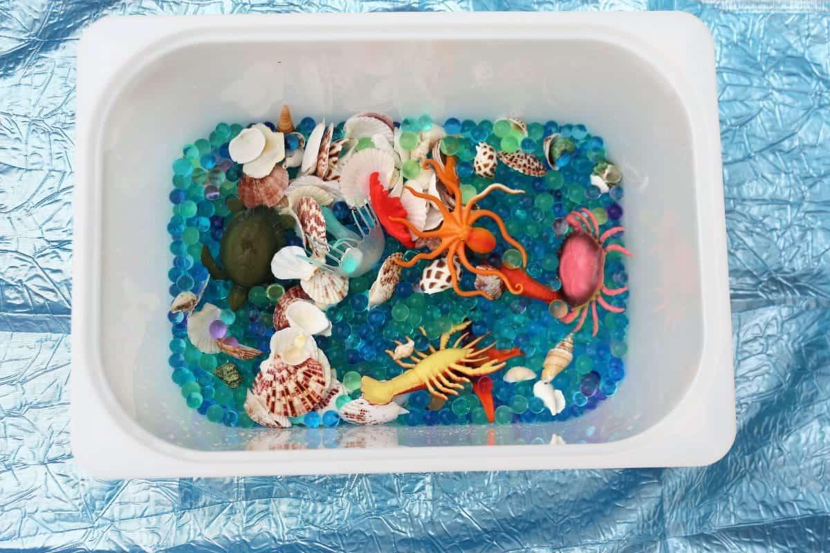 Sea creatures sensory play. Water Beads Sensory Play