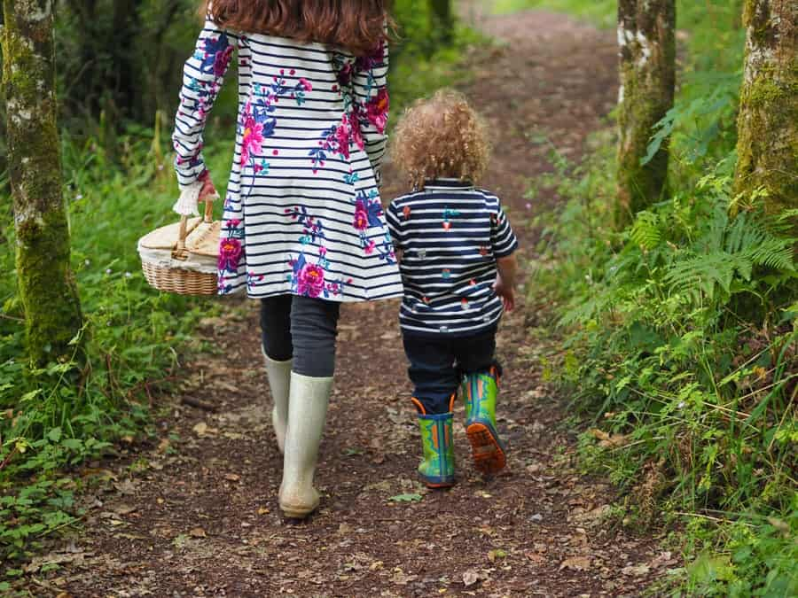 two kids walking along in a wood carrying a basket