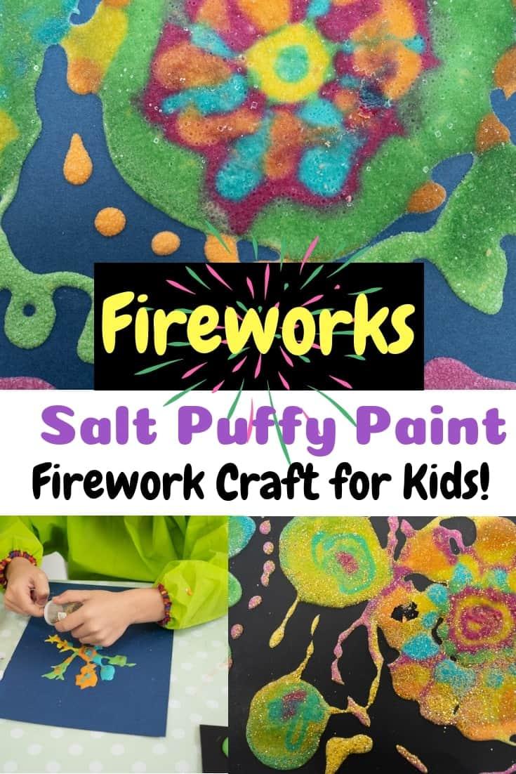 Bonfire Night Craft for kids Firework Salt Puffy Paint Crarft for kids