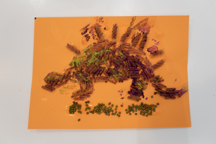 Painted pasta dinosaur